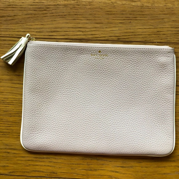 Kate Spade Pebbled leather nude/blush Tassel Pouch